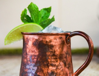 The original Moscow Mule served in a copper mug
