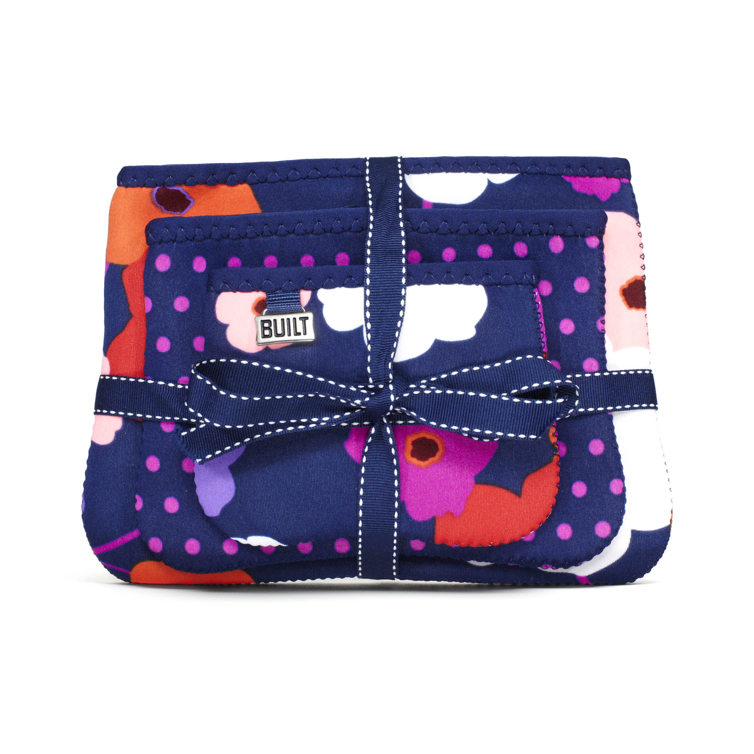 BPC - Zip Cosmetic Pouches 3pk Lush Flower and Mini Dot Navy