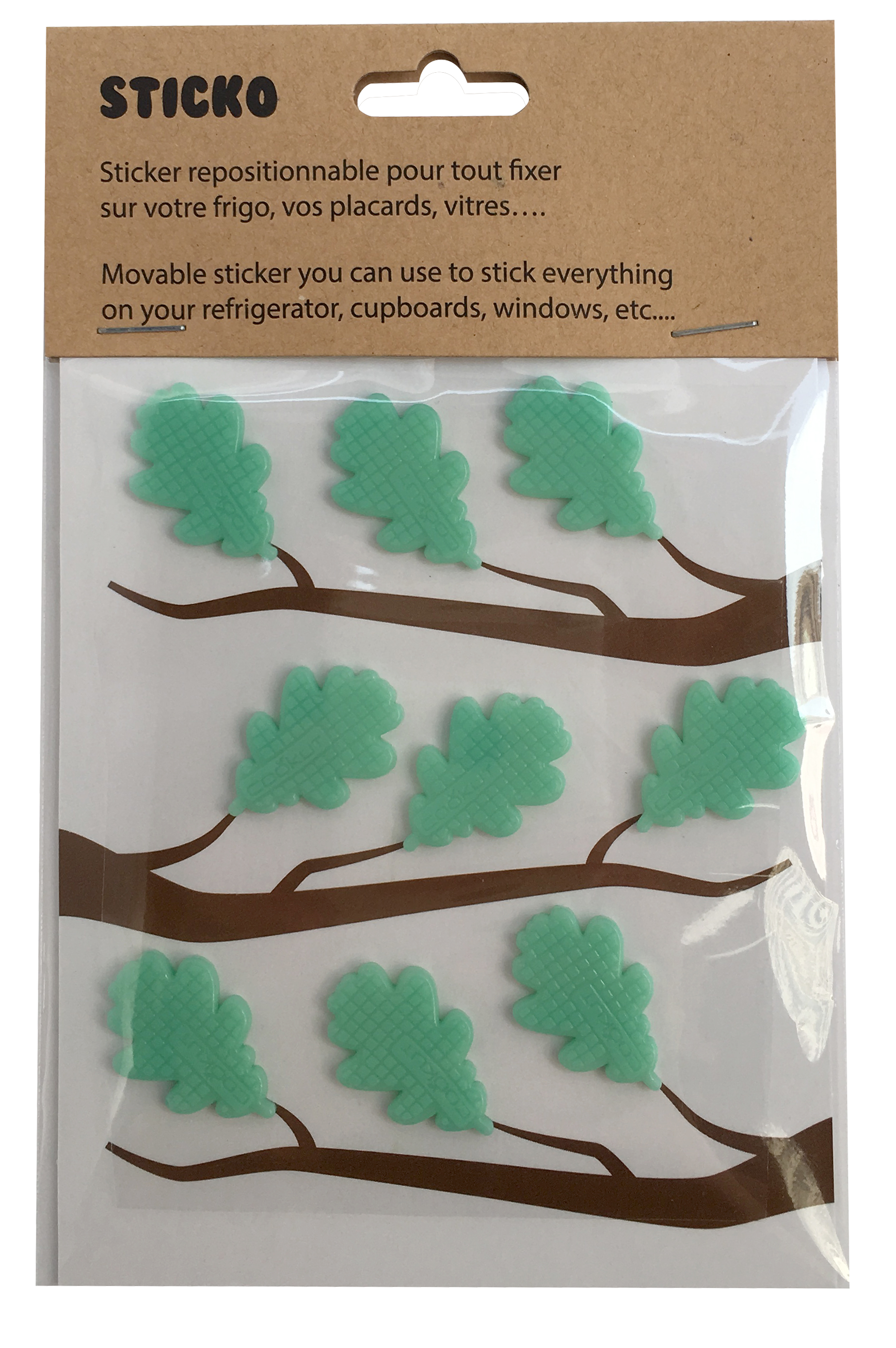 STICKO - 9 leaf shape sticky pads for fridge
