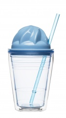 Sweet milkshake with straw, blue