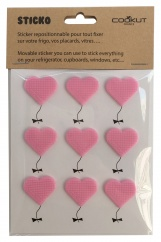STICKO - 9 heart shape sticky pads for fridge