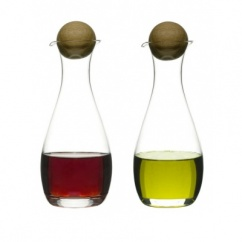 Oil/vinegar bottles with oak stoppers, 2-pack