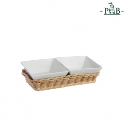 WICKER FOR 2 SQUARE BOWLS cm 10(#)