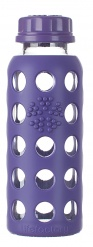 Lifefactory 9oz Glass Bottle with Flat Cap - Royal Purple
