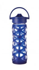 Lifefactory 16 oz Glass Bottle with Axis Straw Cap - Sapphire