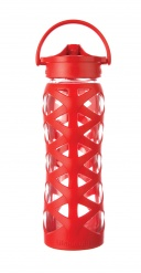 22oz/650ml Glass Bottle with Axis Straw Cap - Charged Red
