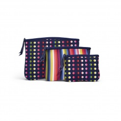 BPC - Zip Cosmetic Pouches 3pk Dot and Stripe No. 9