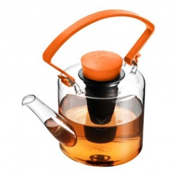 Glass Teapot - Cylinder - Orange