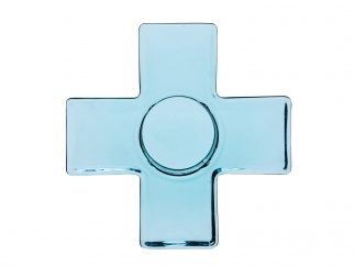 Cross candleholder, blue