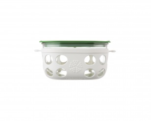 Lifefactory 4 cup Glass Food Storage - Optic White/Grass Green