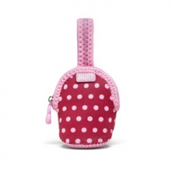 Paci-Finder: Double Pacifier Holder Baby Pink Mini Dots Xxx