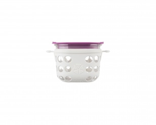 Lifefactory 2 cup Glass Food Storage - Optic White/Huckleberry
