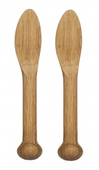 Oval Oak butter knife 2-pack