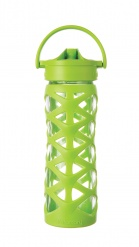 Lifefactory 16 oz Glass Bottle with Axis Straw Cap - Lime