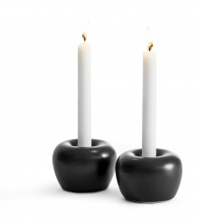"""Apple"" Candleholder Small 2-pack Black"