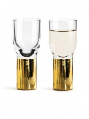 Club schnapps and shot glass gold 2-pack