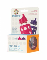 Lifefactory Sippy Caps for 4oz and 9oz Bottles - Raspberry/Royal Purple