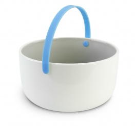 Promenade - Ceramic bowl diam 15 cm with handle - blue