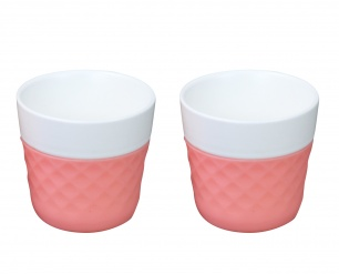 Lola 2 porcelaine coffee cups - pink