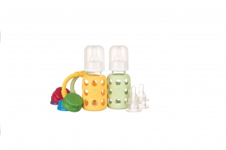 Lifefactory 4oz Starter Set - 2 bottles - Yellow/Spring Green