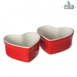CUPIDO HEART RAMEKIN 2 PCS CM10X9 RED GB
