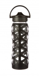 Lifefactory 22 oz Glass Bottle with Axis  Straw Cap - Onyx