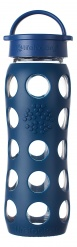 Lifefactory 22oz Glass Bottle with Classic Cap - Midnight Blue