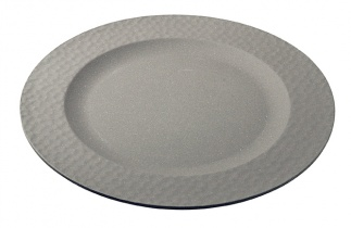 Large Plate HAMMERED Stone Grey