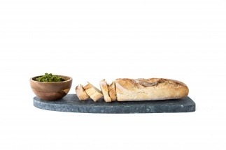 Soapstone board & wooden bowl