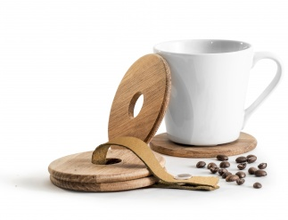 Oak mug coasters, 4 pack