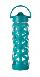 Lifefactory 22 oz Glass Bottle with Axis Straw Cap -  Ultramarine