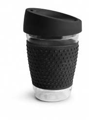 Glass mug with silicone black