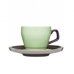 POP coffee cup with saucer, Green/Plum/Brown