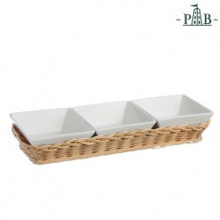 WICKER FOR 3 SQUARE BOWLS cm 10(#)
