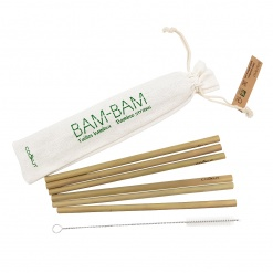 BAM BAM - Bamboo Straws set of 6 with cleaning brush
