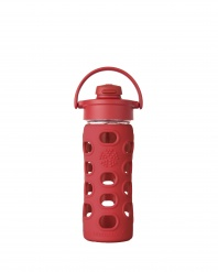 Lifefactory 12 oz Glass Bottle with Flip Cap - Red