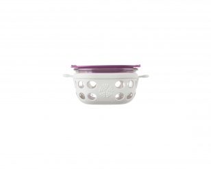 Lifefactory 1 cup Glass Food Storage - Optic White/Huckleberry