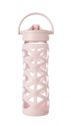 Lifefactory 16 oz Glass Bottle with Axis Straw Cap - Cherry Blossom