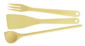 Set 3 Pcs: Spoon, Turner, Fork Woody
