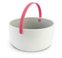 Promenade - Ceramic bowl diam 15 cm with handle - pink