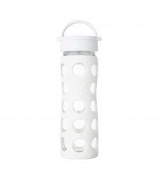 Lifefactory 16 oz Glass Bottle with Classic Cap - Optic White