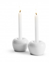 """Apple"" Candleholder Small 2-pack White"