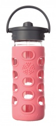 Lifefactory 12oz Glass Bottle with Straw Cap - Coral