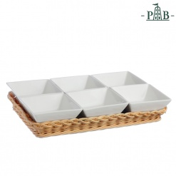 WICKER FOR 6 SQUARE BOWLS cm 10(#)