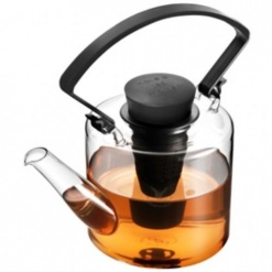 Glass Teapot - Cylinder - Black