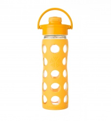 Lifefactory 16 oz Glass Bottle with Flip Cap - Collegiate Yellow