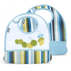Mess Mate: Toddler Bib (Set Of 2) Baby Blue Stripe Xxx
