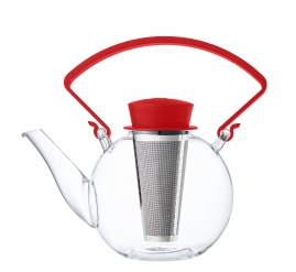 Glass teapot with clip handle & stainless steel filter - Red