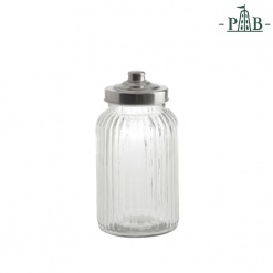 TUSCANIA RIBBED GLASS CONTAINER D11H21GB
