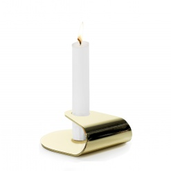 """Nightlight"" Candlestick Brushed Gold plated 18/0 Steel"